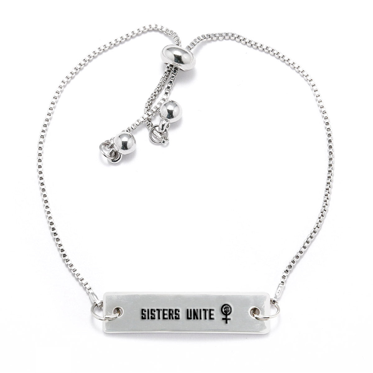 Sisters Unite Silver Bar Adjustable Bracelet