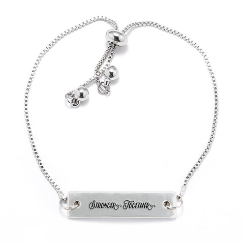 Stronger Together Silver Bar Adjustable Bracelet