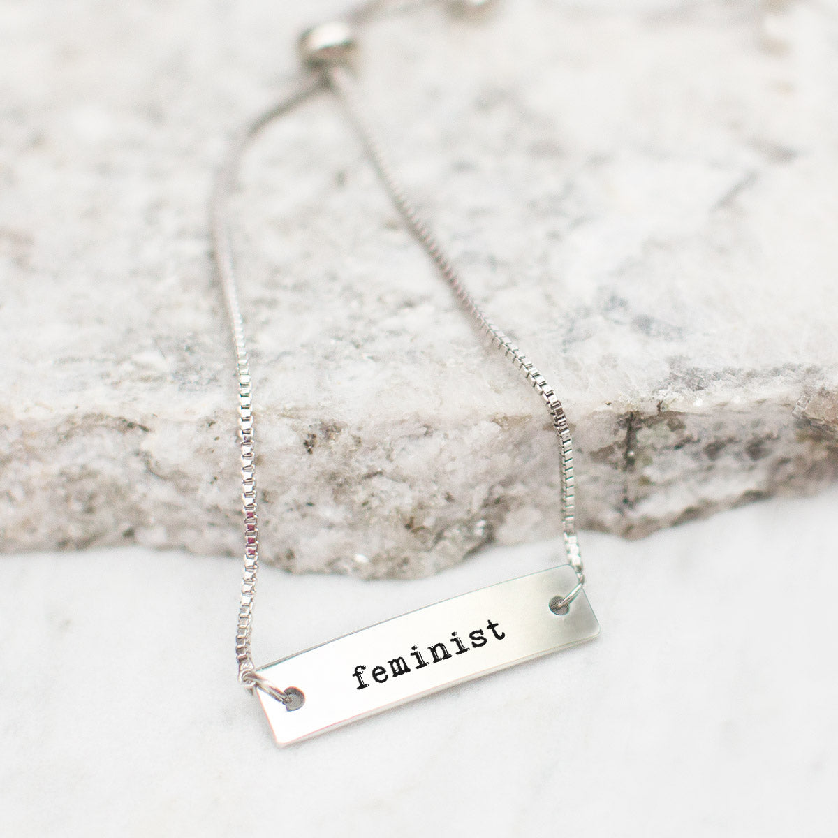 Feminist Silver Bar Adjustable Bracelet - pipercleo.com