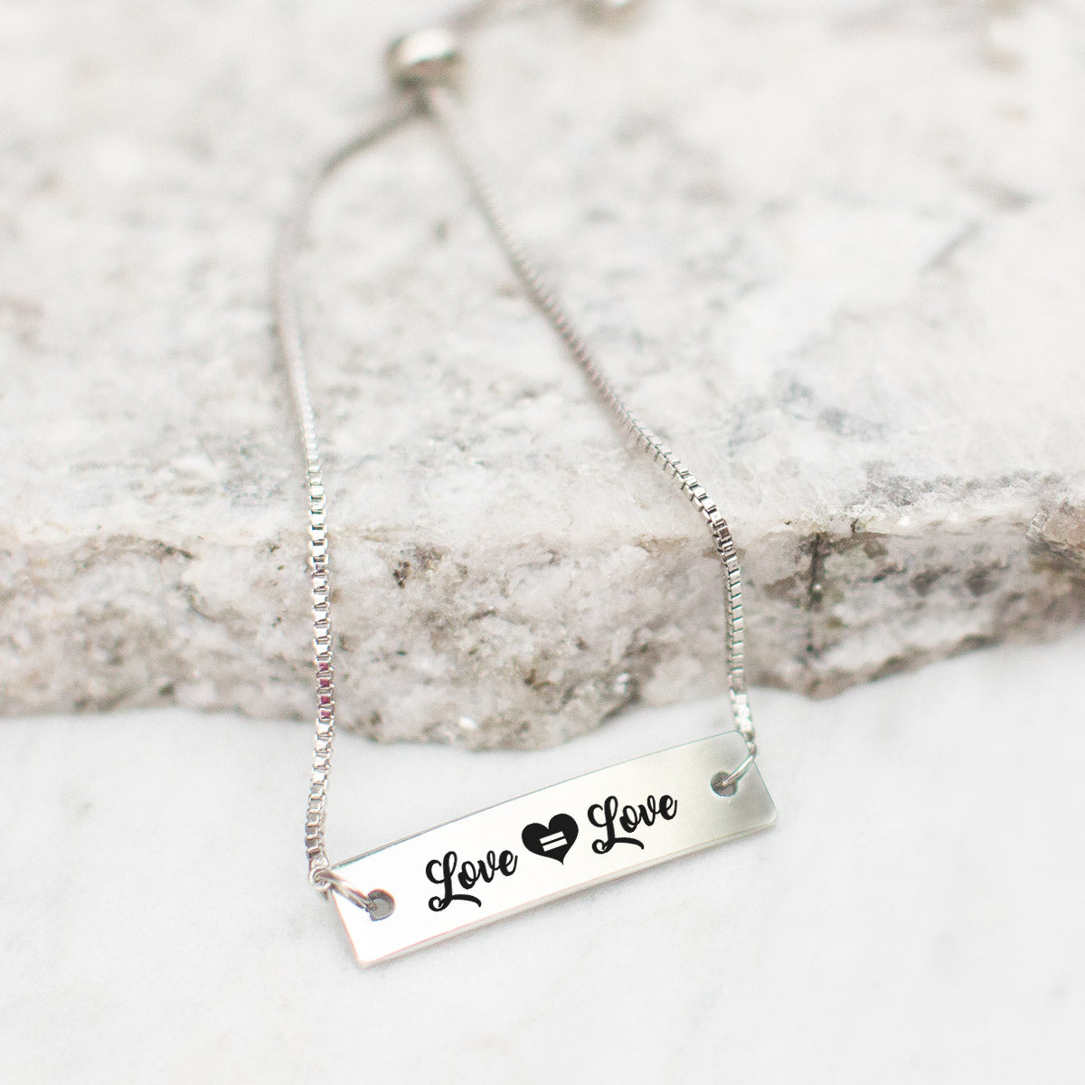 Love is Love Silver Bar Adjustable Bracelet - pipercleo.com
