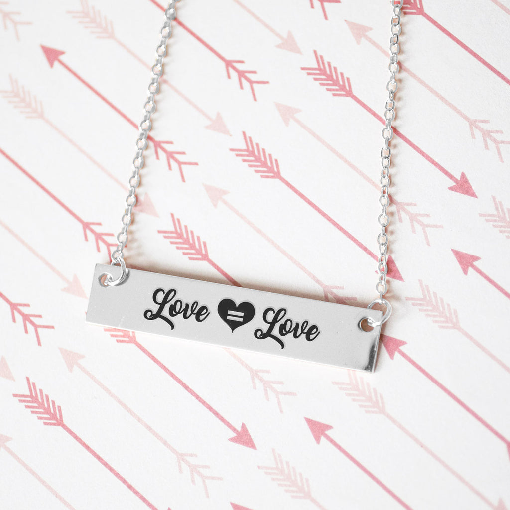 Love is Love Gold / Silver Bar Necklace - pipercleo.com