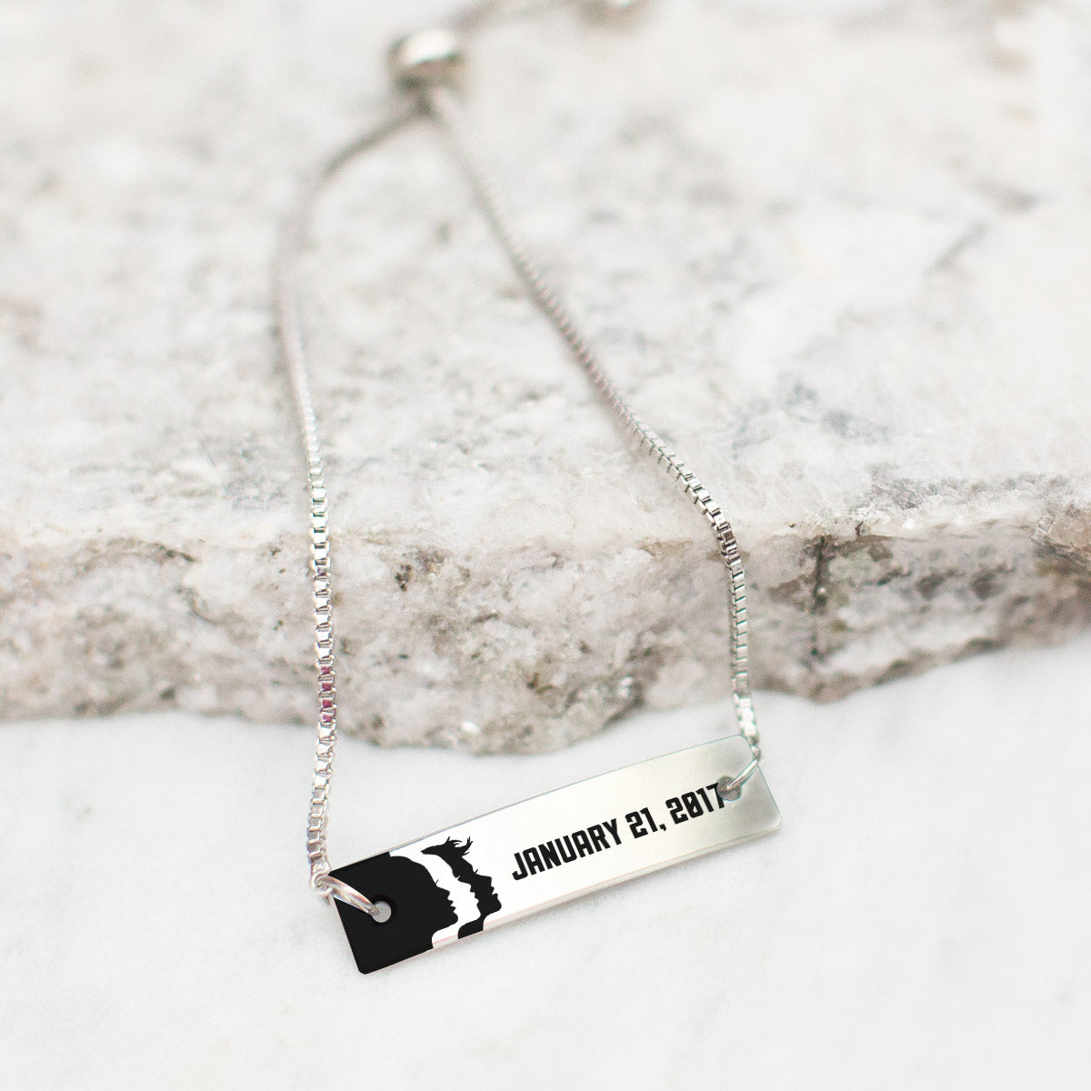 Women's March - 1.21.17 Silver Bar Adjustable Bracelet