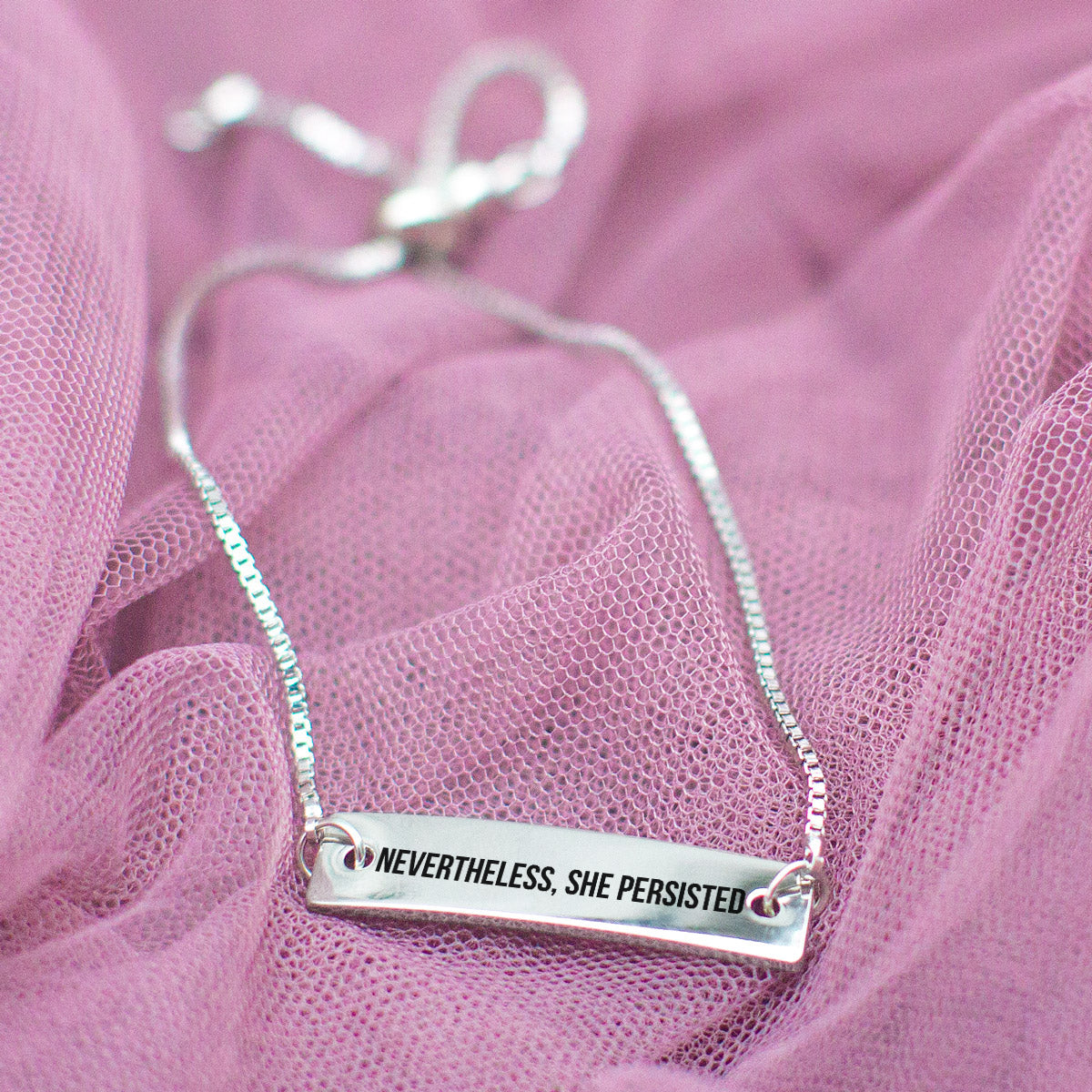 Nevertheless, She Persisted Silver Bar Adjustable Bracelet - pipercleo.com