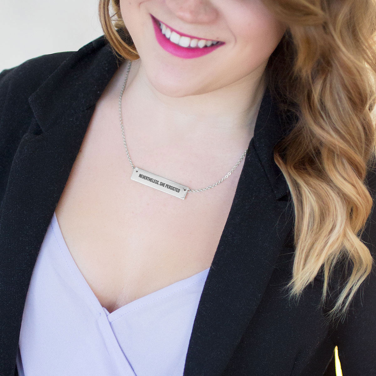 Nevertheless, She Persisted Gold / Silver Bar Necklace - pipercleo.com