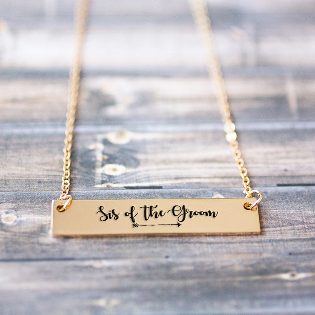 Sis of the Groom Gold / Silver Bar Necklace - pipercleo.com