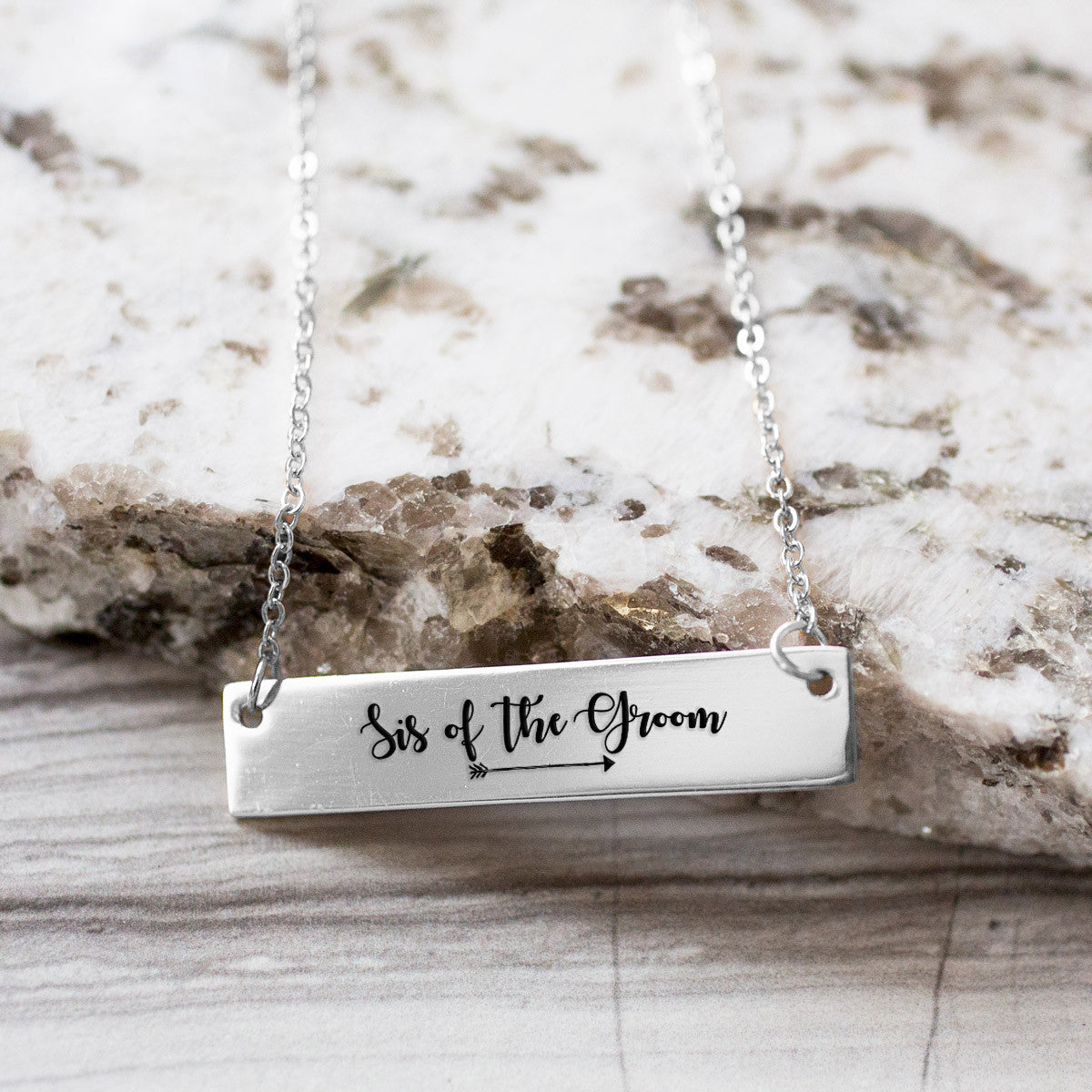 Sis of the Groom Gold / Silver Bar Necklace