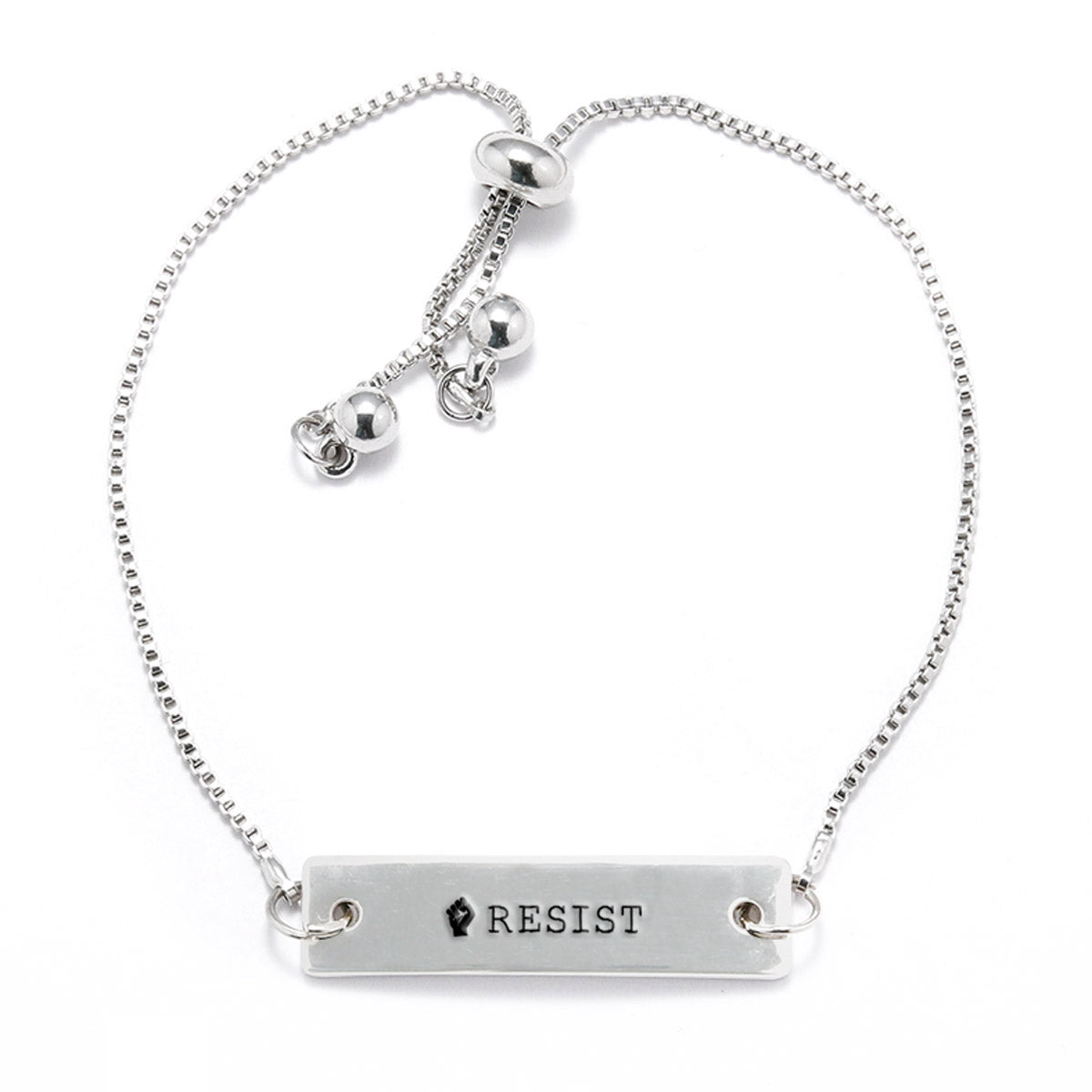 Resist Silver Bar Adjustable Bracelet