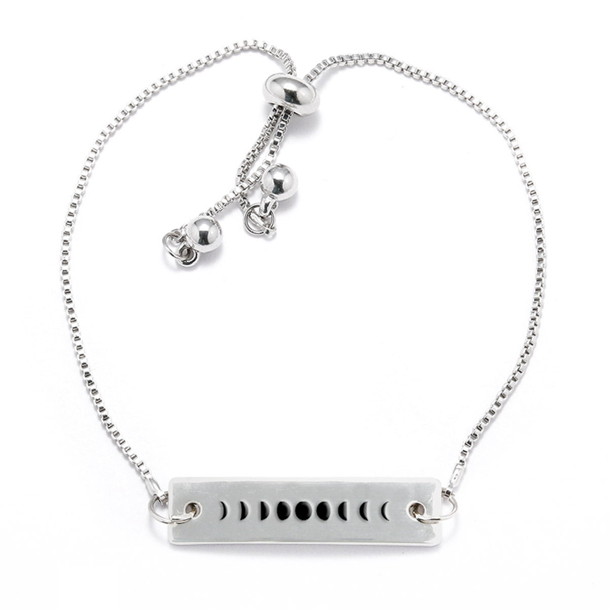 Moon Phases Silver Bar Adjustable Bracelet - pipercleo.com