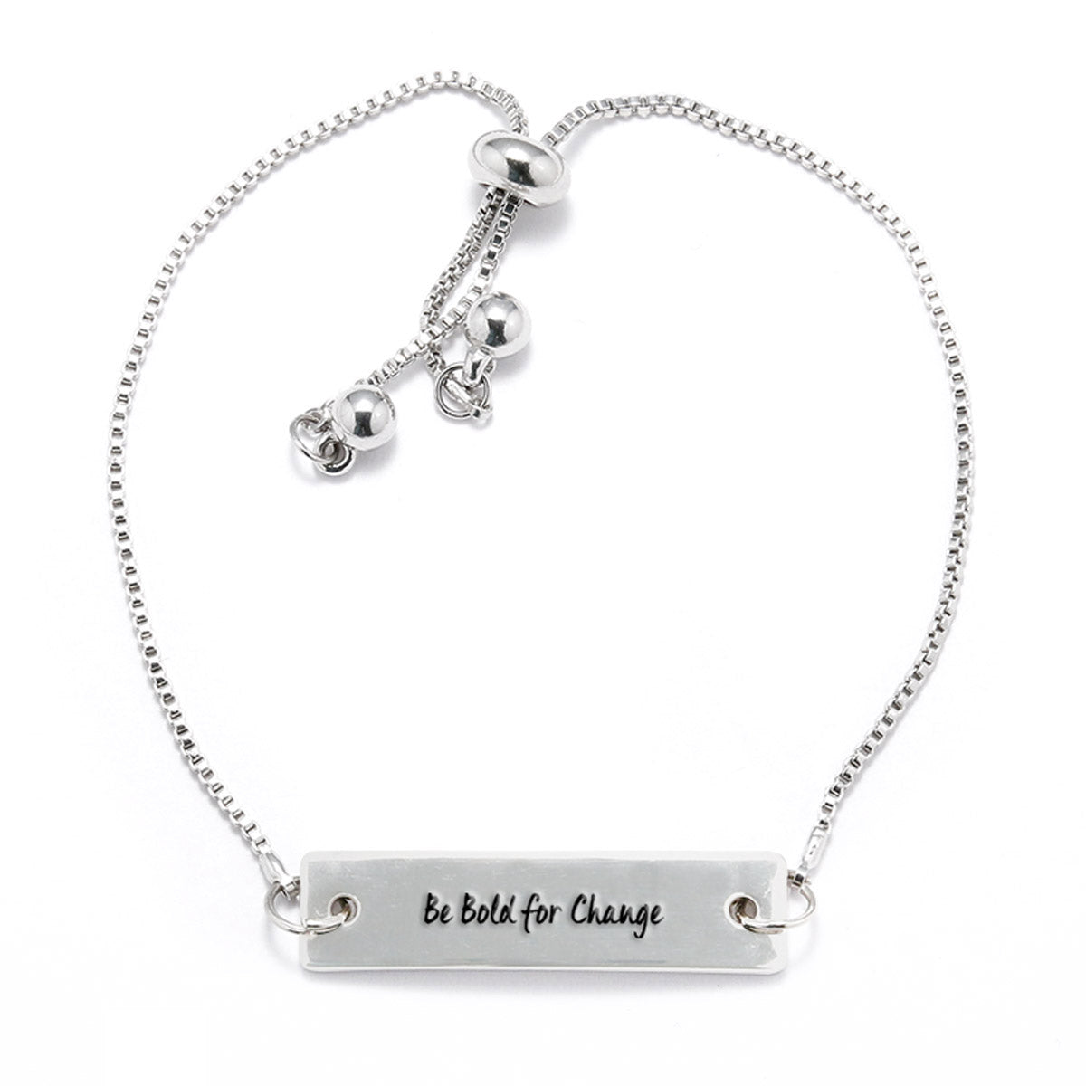 Be Bold For Change Silver Bar Adjustable Bracelet