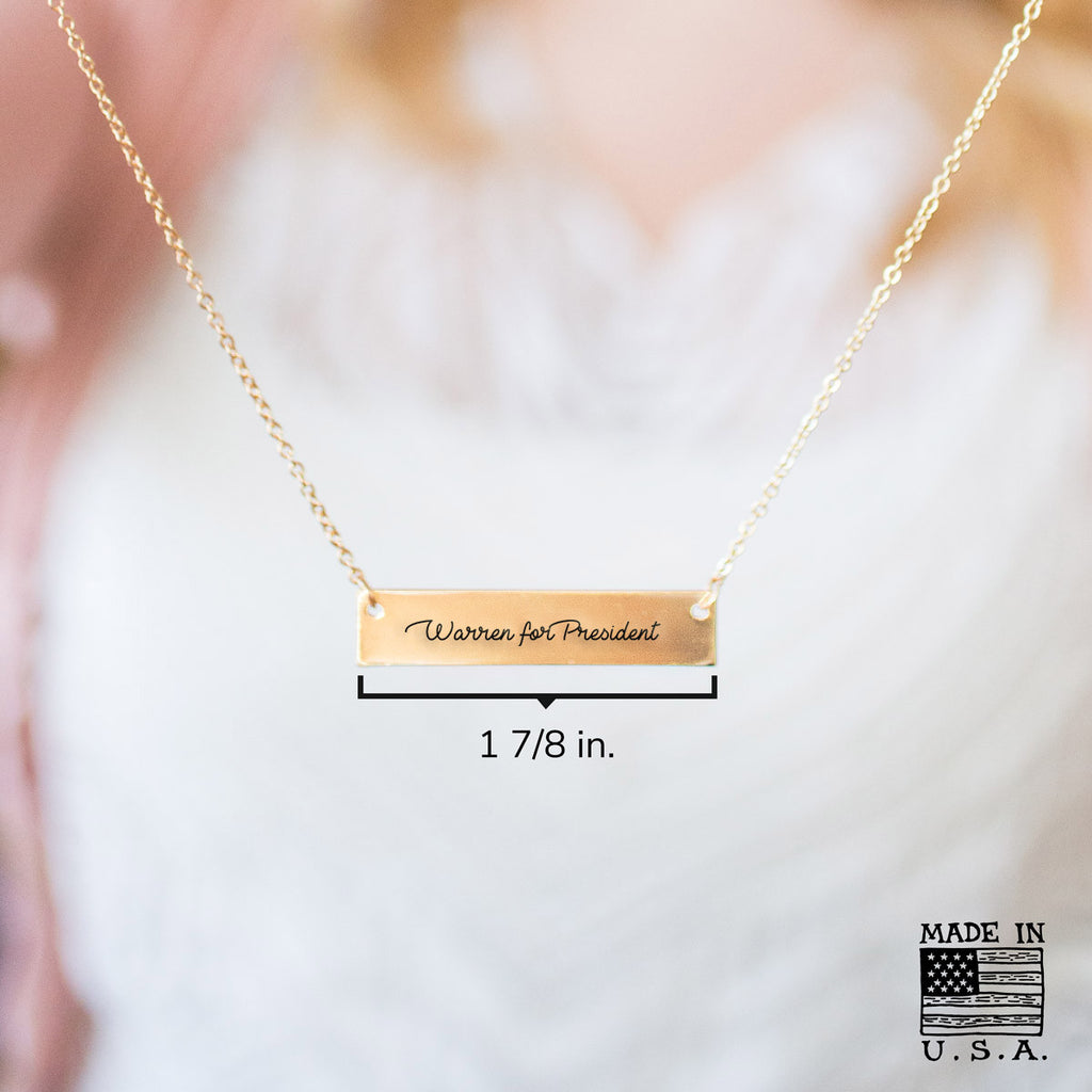 Elizabeth Warren for President 2020 Gold / Silver Bar Necklace - pipercleo.com