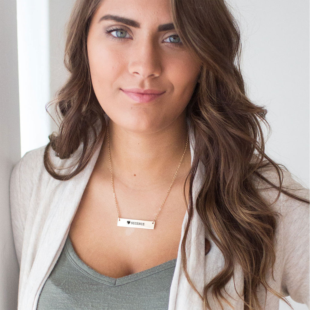 I Love Science Gold / Silver Bar Necklace - pipercleo.com