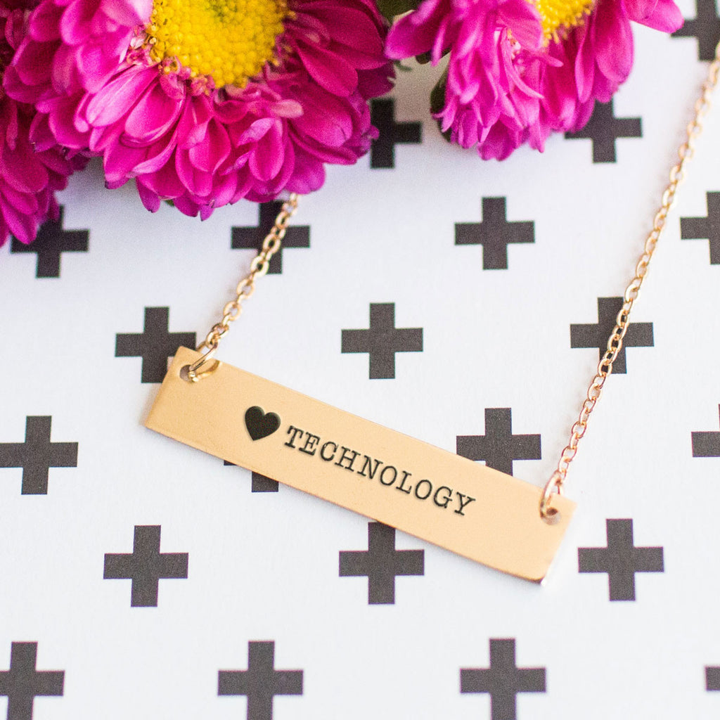 I Love Technology Gold / Silver Bar Necklace - pipercleo.com