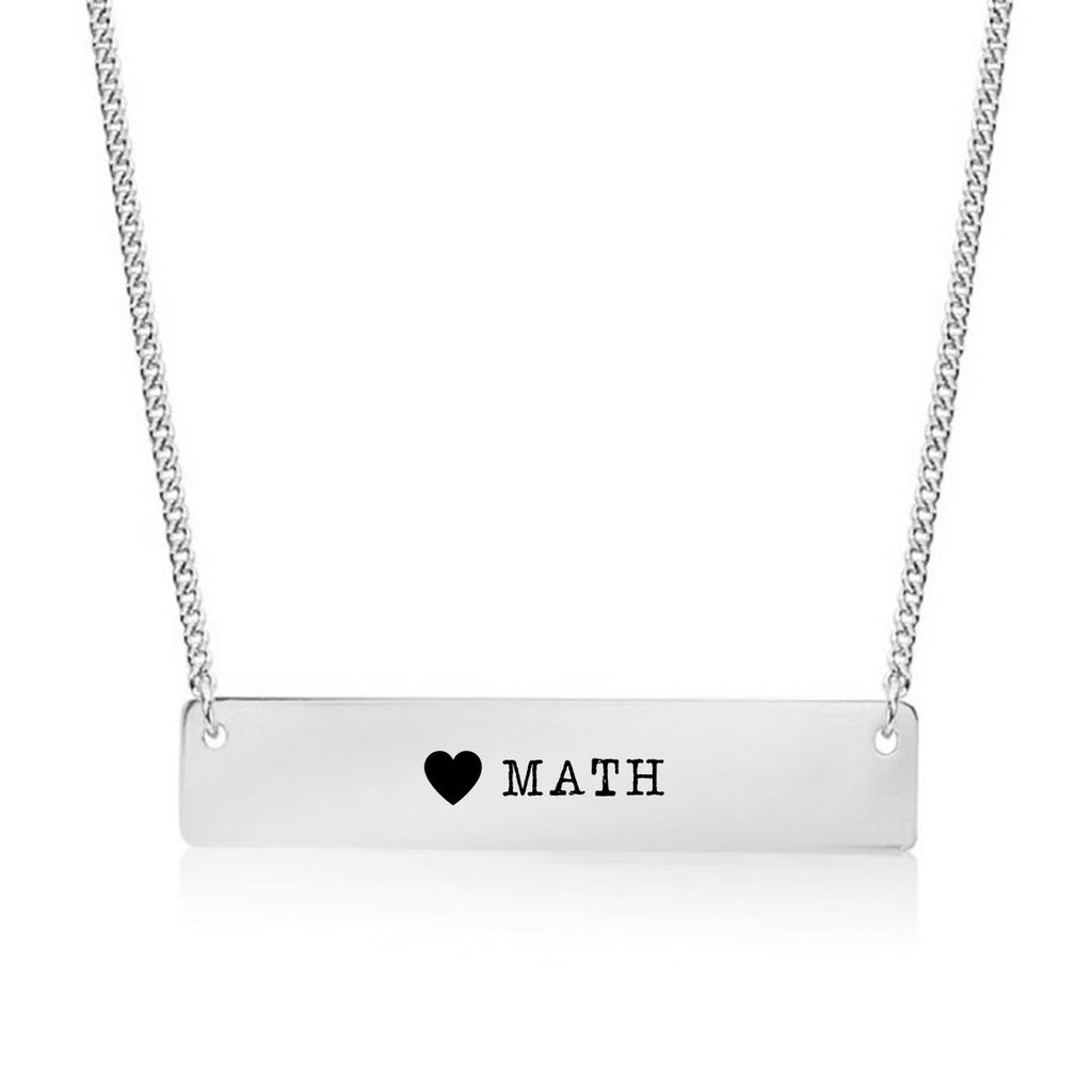 I Love Math Gold / Silver Bar Necklace - pipercleo.com