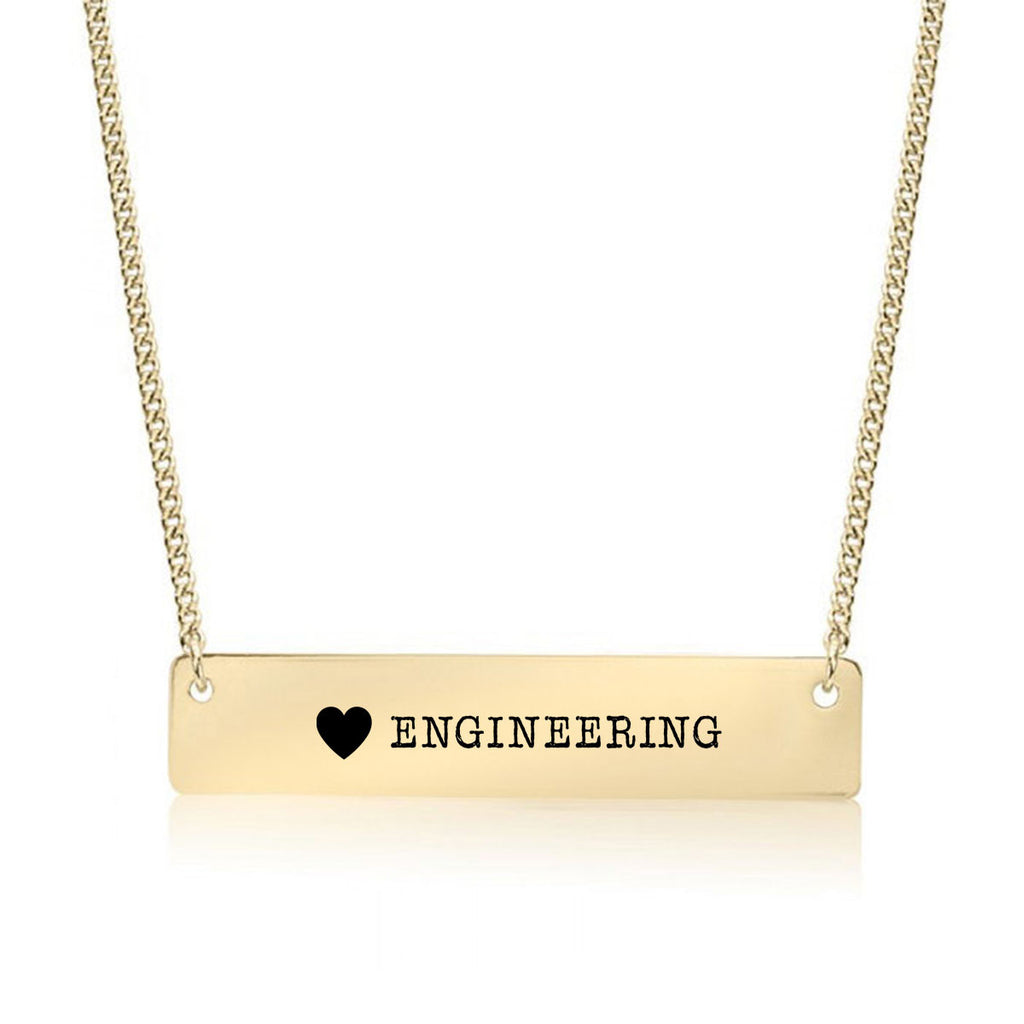 I Love Engineering Gold / Silver Bar Necklace - pipercleo.com