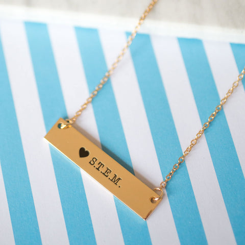 I Love STEM Gold / Silver Bar Necklace