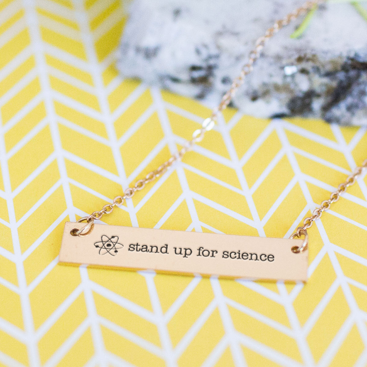 Stand Up for Science Gold / Silver Bar Necklace
