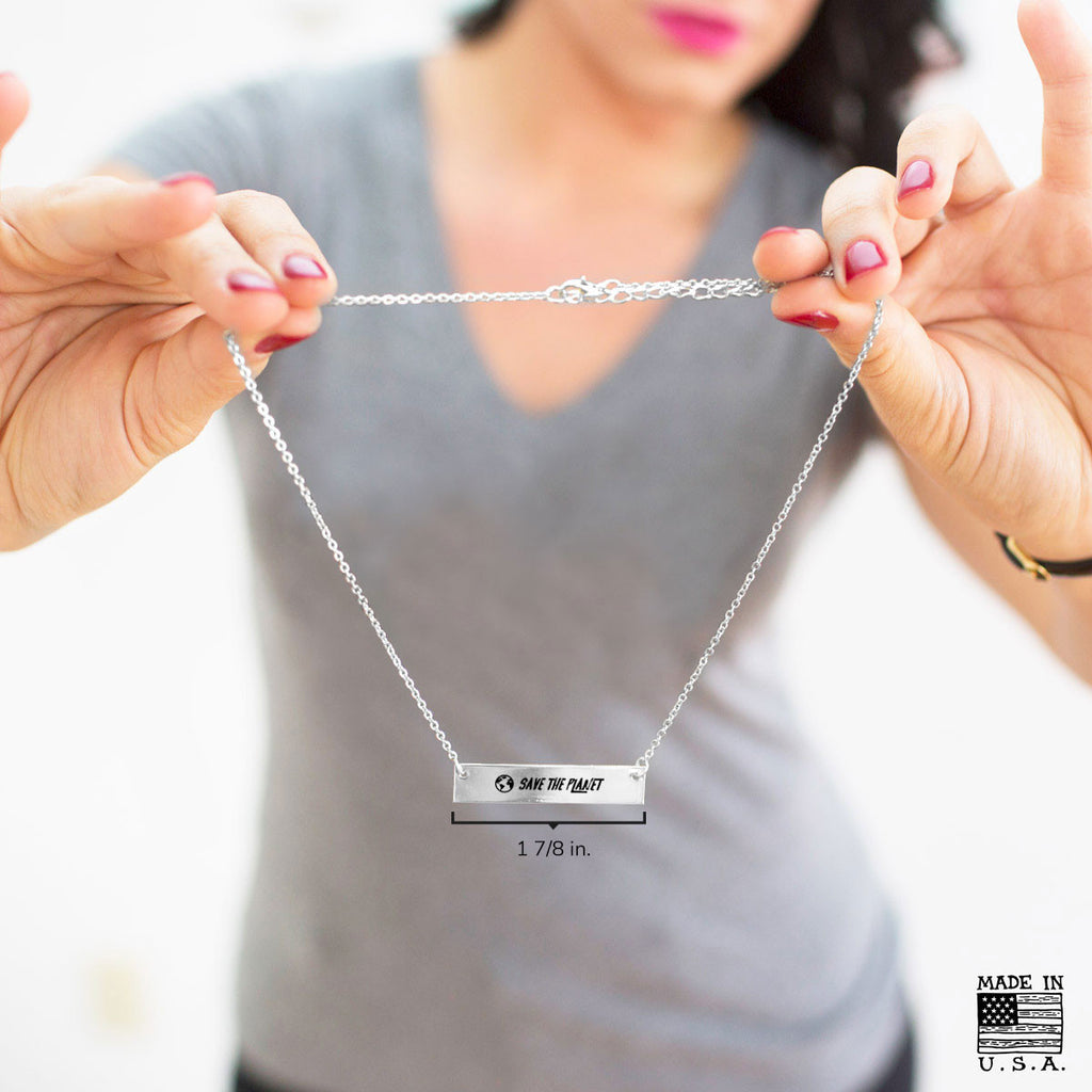 Save the Planet Gold / Silver Bar Necklace - pipercleo.com