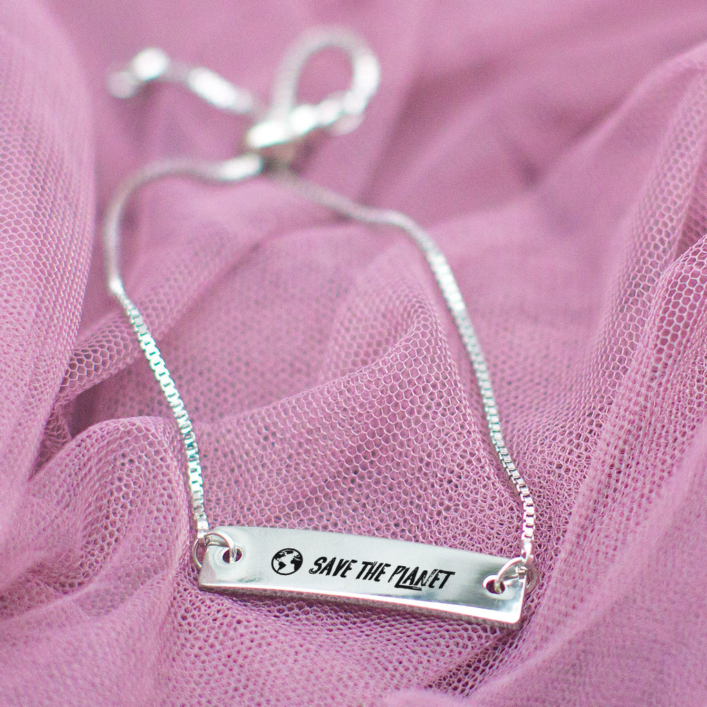 Save the Planet Silver Bar Adjustable Bracelet - pipercleo.com
