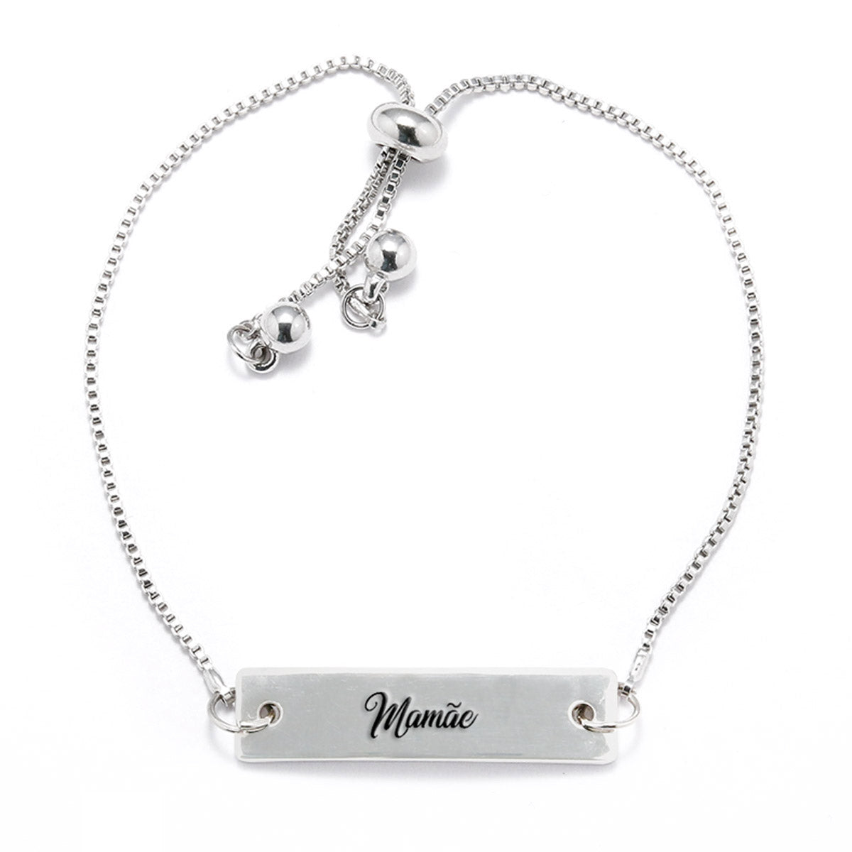 Mamãe Silver Bar Adjustable Bracelet - pipercleo.com