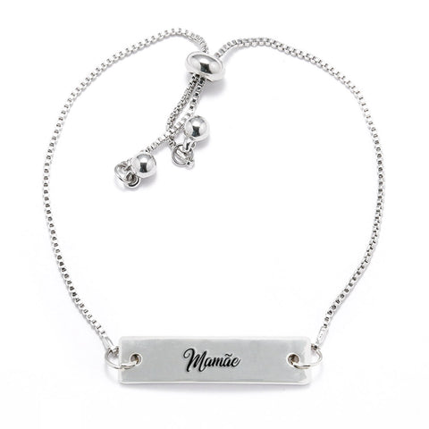 Mamãe Silver Bar Adjustable Bracelet