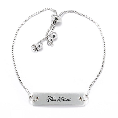 Team Natural Silver Bar Adjustable Bracelet