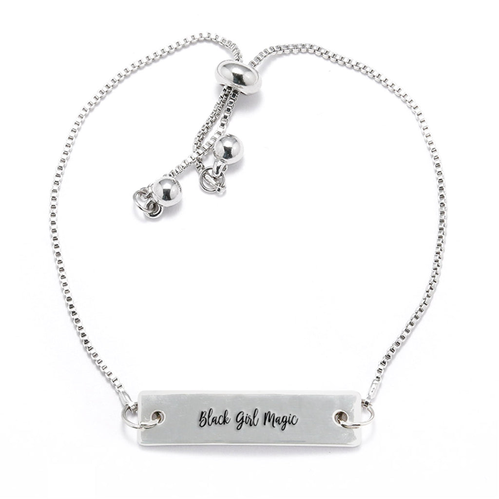 Black Girl Magic Silver Bar Adjustable Bracelet - pipercleo.com
