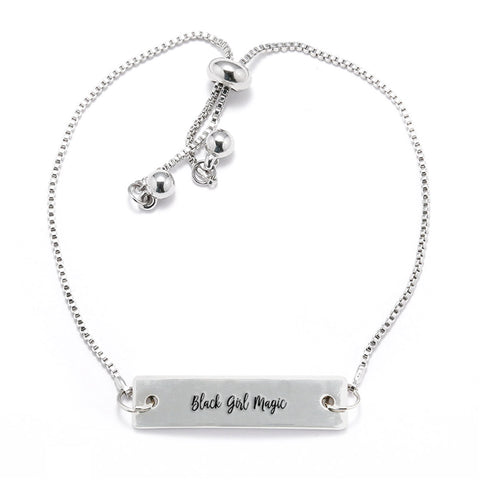 Black Girl Magic Silver Bar Adjustable Bracelet