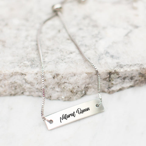 Natural Queen Silver Bar Adjustable Bracelet - pipercleo.com