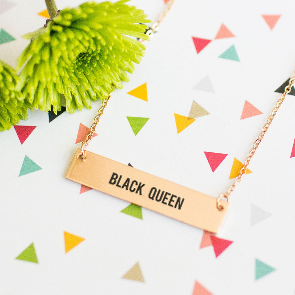 Black Queen Gold / Silver Bar Necklace - pipercleo.com
