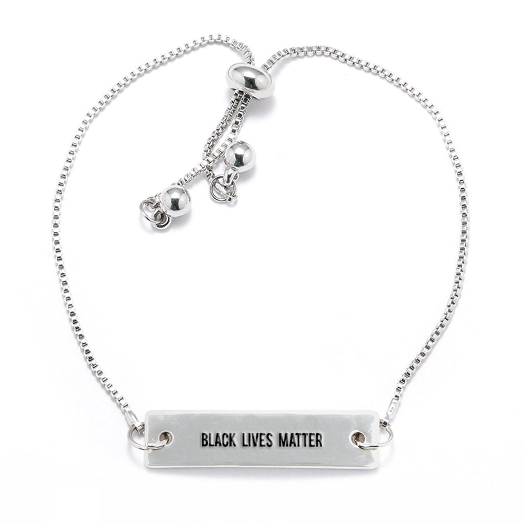 Black Lives Matter Silver Bar Adjustable Bracelet - pipercleo.com