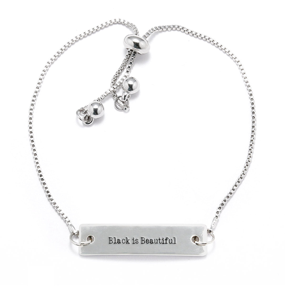 Black is Beautiful Silver Bar Adjustable Bracelet - pipercleo.com