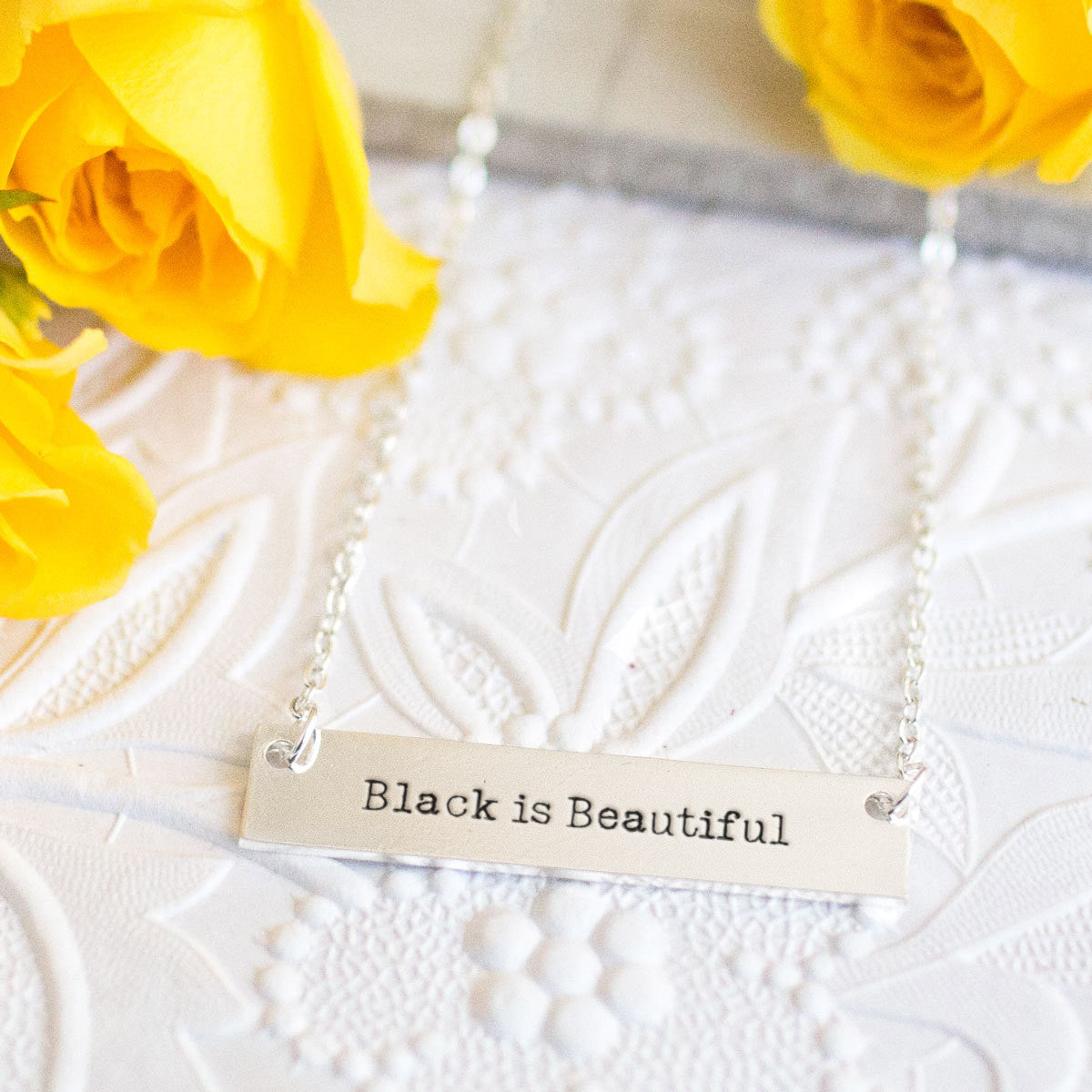 Black is Beautiful Gold / Silver Bar Necklace - pipercleo.com