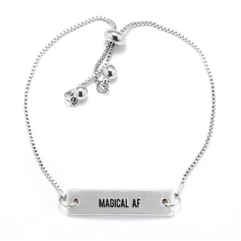 Magical AF Silver Bar Adjustable Bracelet