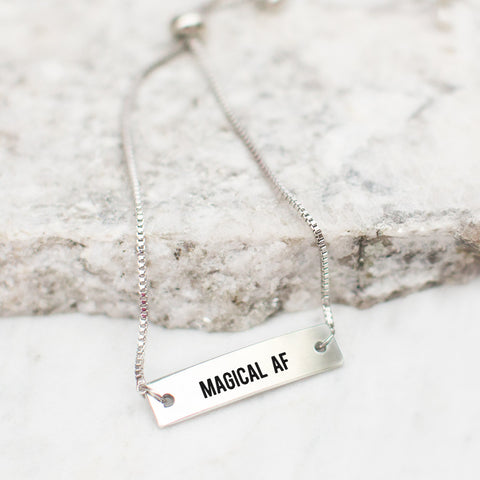 Magical AF Silver Bar Adjustable Bracelet - pipercleo.com