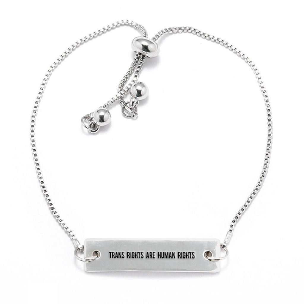 Trans Rights are Human Rights Silver Bar Adjustable Bracelet - pipercleo.com
