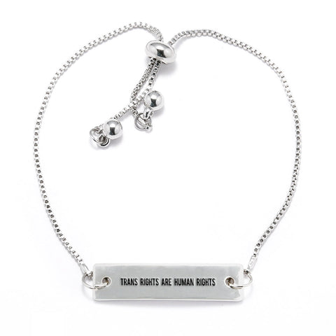 Trans Rights are Human Rights Silver Bar Adjustable Bracelet