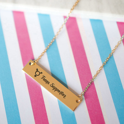 Trans Supporter Gold / Silver Bar Necklace - pipercleo.com
