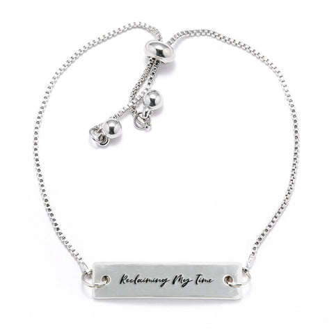 Reclaiming My Time Silver Bar Adjustable Bracelet