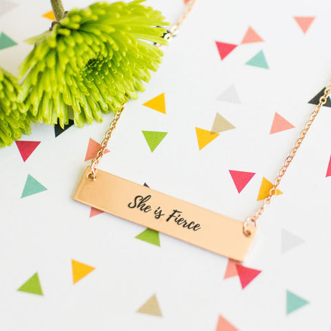 She is Fierce Gold / Silver Bar Necklace