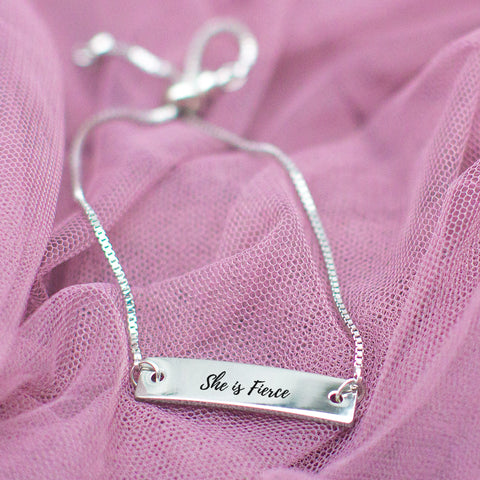 She is Fierce Silver Bar Adjustable Bracelet - pipercleo.com