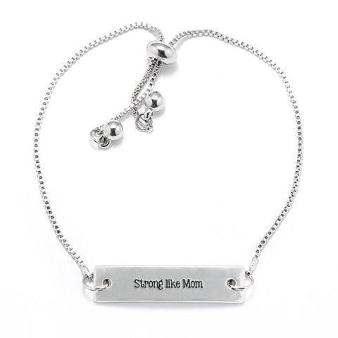Strong Like Mom Silver Bar Adjustable Bracelet
