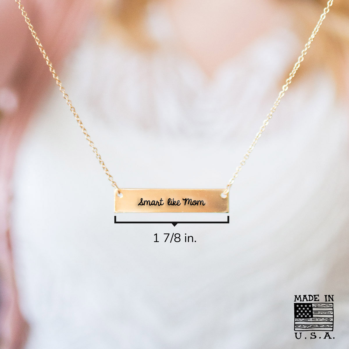 Smart Like Mom Gold / Silver Bar Necklace - pipercleo.com