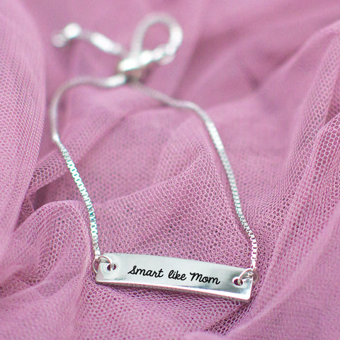 Smart Like Mom Silver Bar Adjustable Bracelet - pipercleo.com