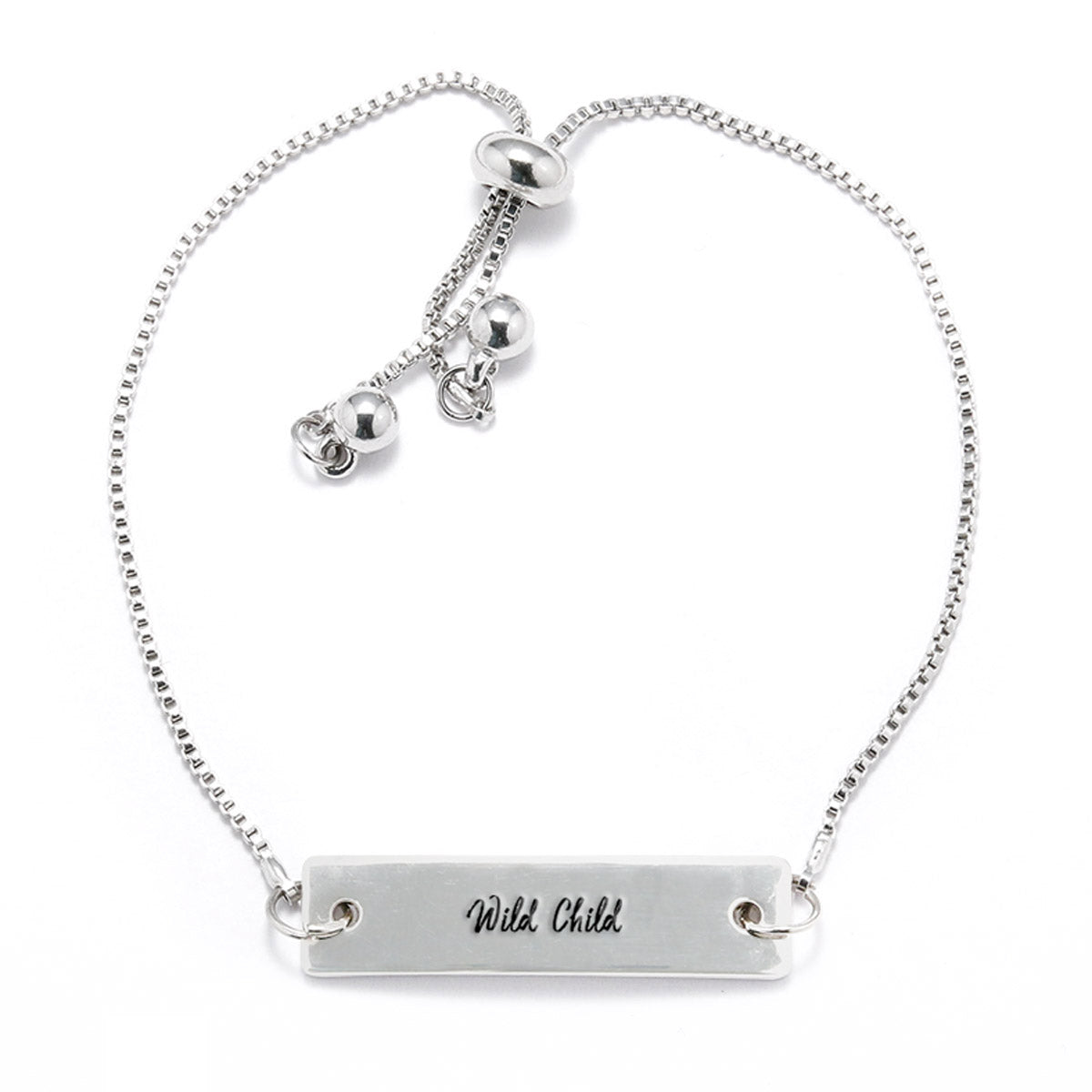 Wild Child Silver Bar Adjustable Bracelet - pipercleo.com