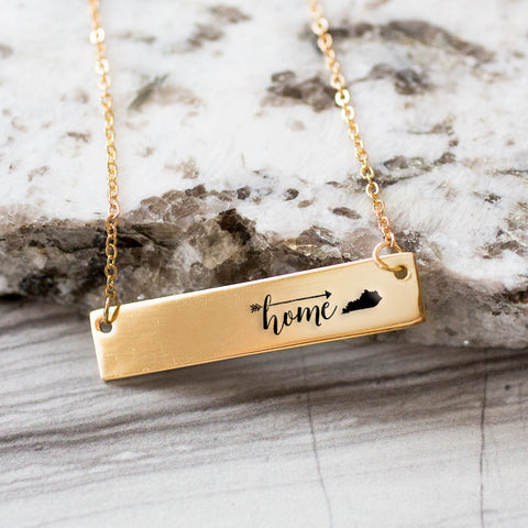 Home is Kentucky Gold / Silver Bar Necklace
