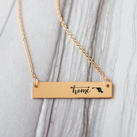 Home is Maryland Gold / Silver Bar Necklace