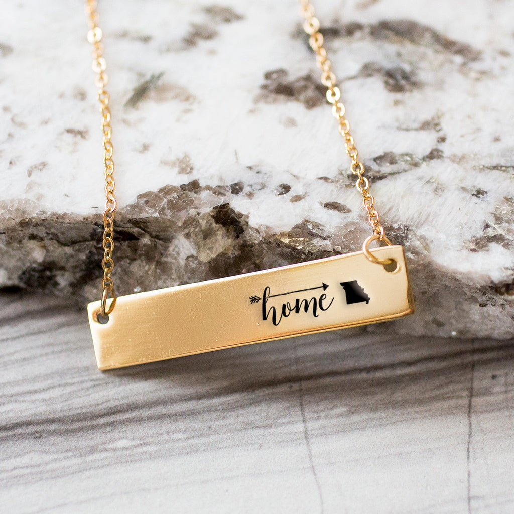 Home is Missouri Gold / Silver Bar Necklace - pipercleo.com