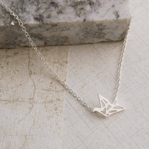 Origami Crane Silver Necklace - pipercleo.com