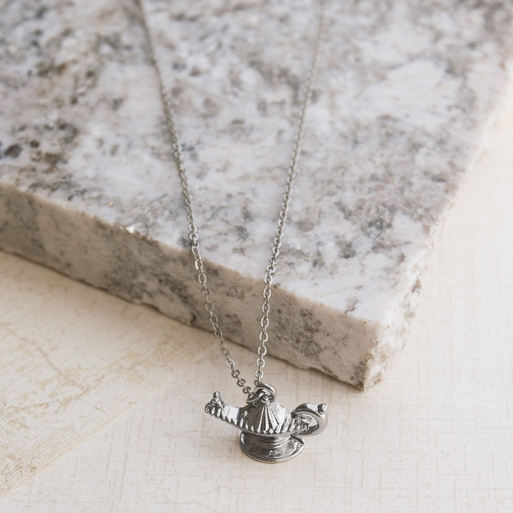 Wishes for My Genie Silver Necklace - pipercleo.com