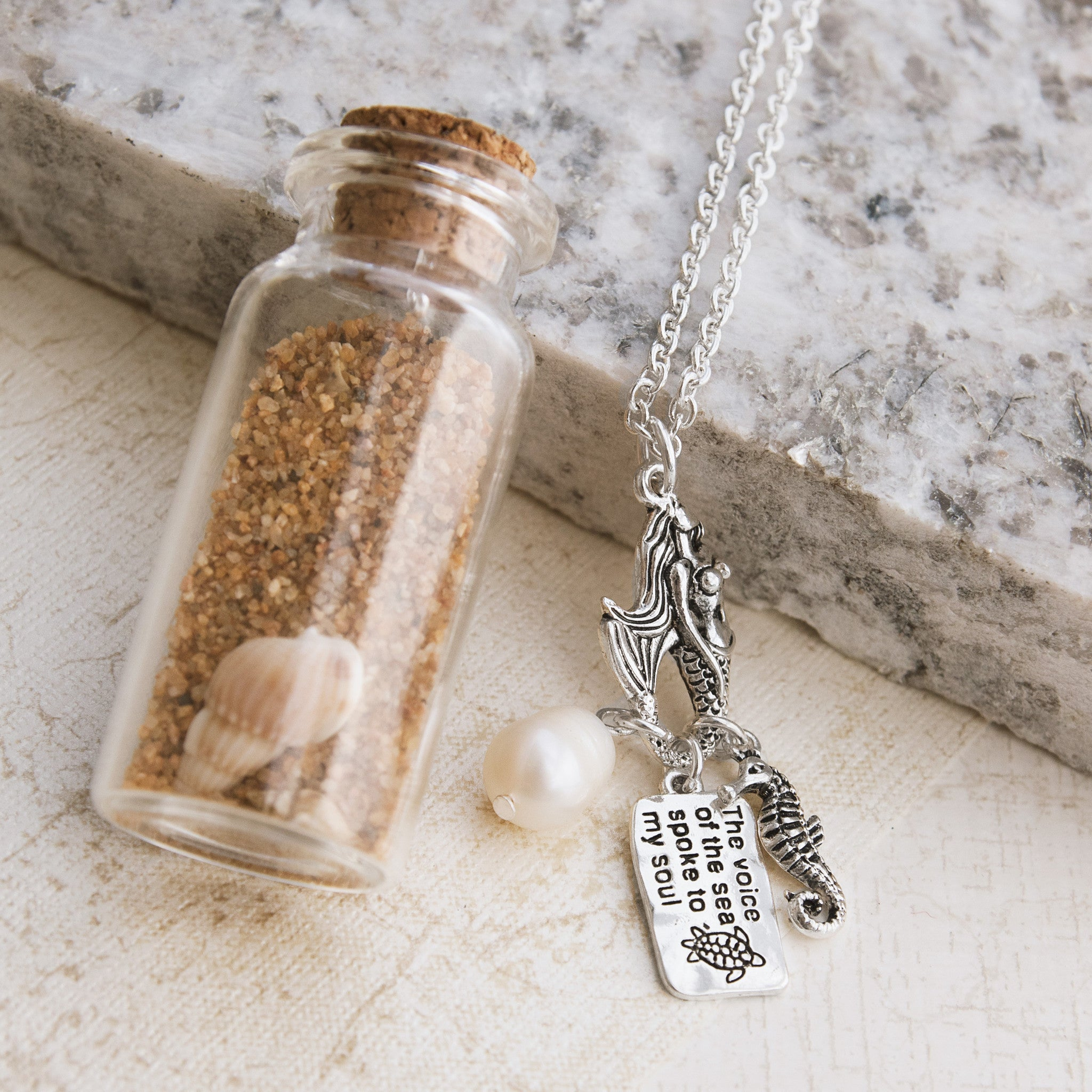 Mermaids and Seashells Necklace In a Jar